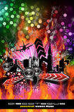 Grunge Style Disco Flyer Background Royalty Free Stock Photo