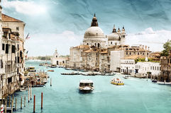 Grunge style image of Grand Canal, Venice Royalty Free Stock Images