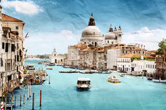 Grunge style image of Grand Canal Stock Photos