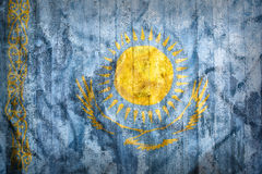 Grunge style of Kazakhstan flag on a brick wall Stock Photo
