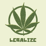 Grunge style marijuana leaf. Legalize medical Stock Image