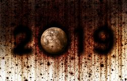 Grunge Style 2019 with the Moon as the 0 royalty free stock photos