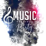 Grunge style music party festival flyer poster design. Illustration Stock Image