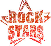 Grunge style rubber stamp Rock stars in red tones.  stock illustration