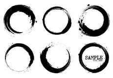Grunge style set of circle shapes . Vector.  Stock Image