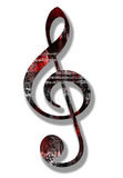 Grunge Style Treble Clef. With Working Path Stock Image