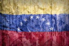Grunge style of Venezuela flag on a brick wall stock images