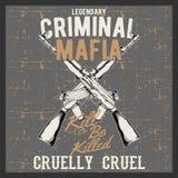 Grunge style vintage logo criminal mafia with automatic guns, royalty free illustration