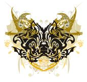 Grunge stylized butterfly with gold winged dragons Royalty Free Stock Image