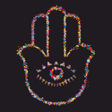 Grunge stylized colorful Hamsa on black background Stock Photos