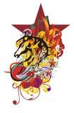 Grunge stylized horse head splashes Stock Image