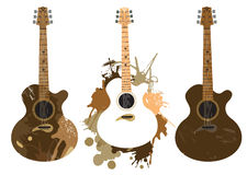 Grunge stylized Spanish Guitars Royalty Free Stock Images