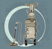 Grunge suitcase vacuum cleaner. On wheels with pump royalty free illustration