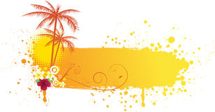 Grunge summer banner. Grunge orange banner with palms and florals Stock Images