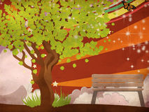 Grunge summer illustration with green tree Stock Images
