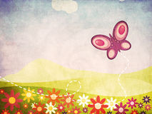 Grunge summer landscape with butterfly. Illustration of grunge summer landscape with flowers and butterfly background Royalty Free Stock Image