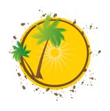 Grunge summer vector background with palms Stock Image