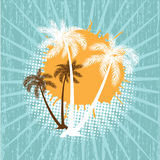 Grunge summer vector background with palms Stock Photo