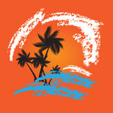 Grunge summer vector background with palms Royalty Free Stock Image