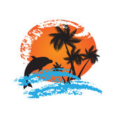 Grunge summer vector background with palms and dol Royalty Free Stock Photo