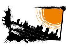 Grunge sun and city Royalty Free Stock Photography