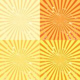 Grunge sunburst background. Four illustrations Stock Photos