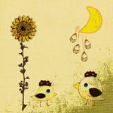 Grunge sunflower and moon Stock Photo