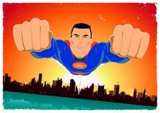 Grunge Super Hero Poster Background stock illustration