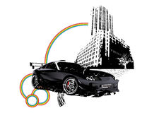 Grunge supra car building city. Vectorized illustration of distressed toyota supra car showing of some serous bling bling Stock Photography