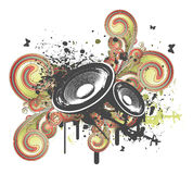 Grunge Swirl Speaker. In Stereo vector illustration Royalty Free Stock Image