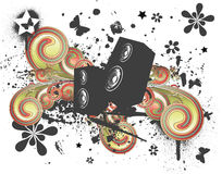 Grunge Swirl Speaker. In Stereo vector illustration Stock Photos