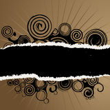 Grunge swirl torn paper background. A brown and black background with torn paper edges and grungy black swirls Royalty Free Stock Photo