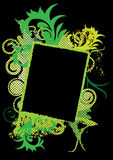 Grunge swirly banner. Grunge abstract picture frame or banner with green splash and swirls vector illustration