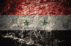 Grunge Syrii flaga na kamiennym tle ilustracja wektor