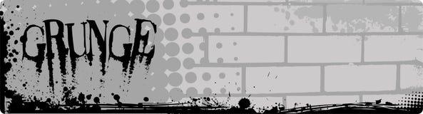Grunge sztandar z ściana z cegieł tłem Zdjęcia Stock