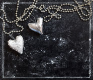 grunge tła miłości księgi karty pocztówkowy dzień valentine s serca srebro Zdjęcia Royalty Free