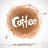 Grunge tło z jaskrawym brown pluśnięciem Kawa wektor ilustracji