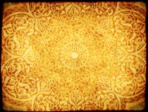 Grunge tło z papierową teksturą i kwiecisty ornament w Moro Obraz Royalty Free