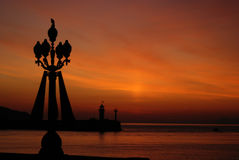 Grunge tła niebo na zmierzchu na morzu Obraz Royalty Free
