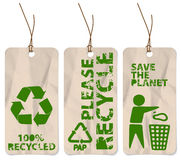 Grunge tags for recycling Stock Image