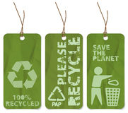 Grunge tags for recycling. Set of three grunge tags for recycling Stock Photography