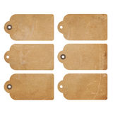 Grunge tags. Set of six brown grunge gift tags isolated on white Royalty Free Stock Photography