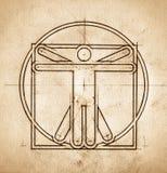Technical Minimalistic Vitruvian Man. Grunge technical minimalistic design mimicking Leonardo da Vinci Vitruvian Man Stock Photos