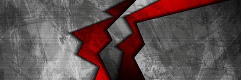 Grunge techniki materialna czerwień i popielaty sieć sztandar Zdjęcie Royalty Free