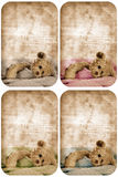 Grunge teddy bear card. Set of four grunge cards with teddy bear in blanket and space for text Stock Photography