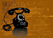 Grunge telephone vector. This image is a vector illustration with a old black telephone stock illustration
