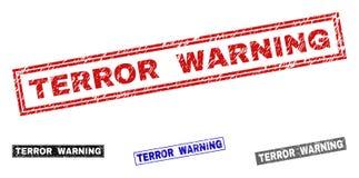 Grunge terror OSTRZEGA Textured prostokątów znaczki royalty ilustracja