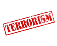 Grunge terrorism stamp. On white background stock illustration
