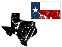 Grunge texas map with flag. Vector illustration of distressed texas map and state flag. the style is grunge and aged Royalty Free Stock Photos