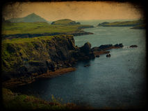 Grunge texture beautiful scenic irish landscape Stock Photos